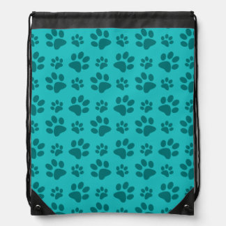 Turquoise dog paw print drawstring bag
