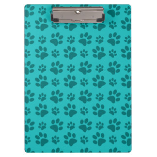 Turquoise dog paw print pattern clipboard