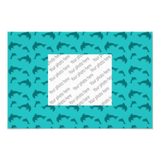 Turquoise dolphin pattern photo print