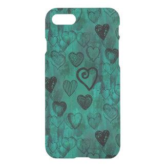 Turquoise Doodle Grunge Hearts iPhone 8/7 Case