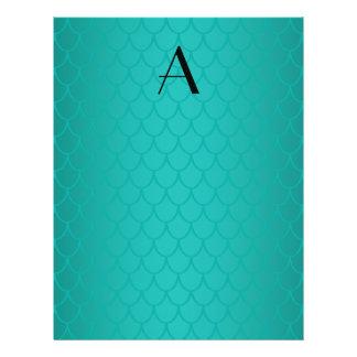 Turquoise dragon scales monogram 21.5 cm x 28 cm flyer