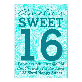 Turquoise dreamcatcher floral doodles Sweet 16 13 Cm X 18 Cm Invitation Card