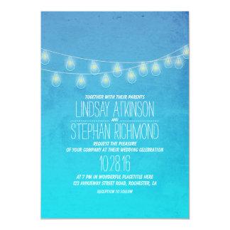 Turquoise Elegant String Lights Wedding Invites