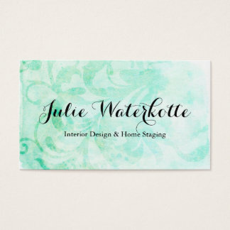 Turquoise elegant watercolor Interior Designer Business Card