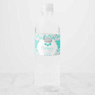 Turquoise Elephant Baby Shower Water Bottle Label
