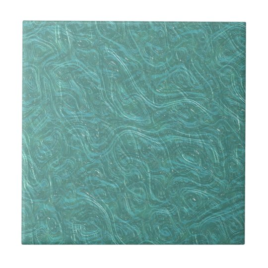 Turquoise Etched Glass. Retro Vintage Pattern Small Square