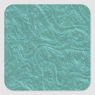 Turquoise Etched Glass. Retro Vintage Pattern Square Sticker