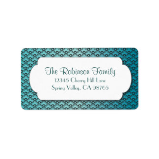Turquoise Fan Pattern with White Frame Address Label