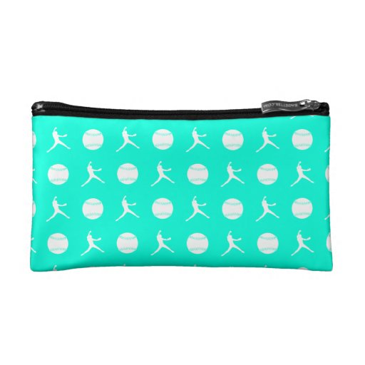 Turquoise Fastpitch Pattern Clutch Cosmetic Bags