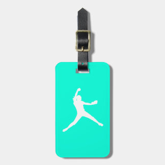 Turquoise Fastpitch Silhouette Luggage Tag