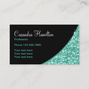 Glitzy business cards zazzle uk turquoise faux glitter beauty theme business card reheart Gallery