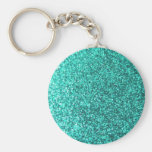 Turquoise faux glitter graphic basic round button key ring