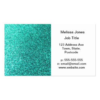 Turquoise faux glitter graphic business cards