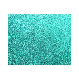 Turquoise faux glitter graphic canvas print