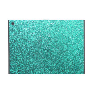 Turquoise faux glitter graphic case for iPad mini