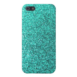 Turquoise faux glitter graphic iPhone 5 cases