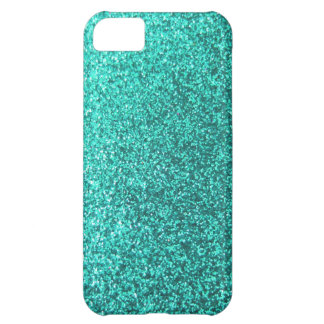 Turquoise faux glitter graphic iPhone 5C case