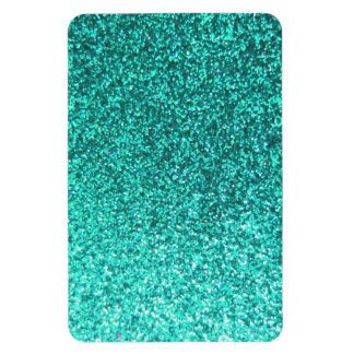 Turquoise faux glitter graphic magnet