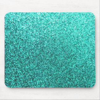 Turquoise faux glitter graphic mouse mat