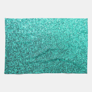 Turquoise faux glitter graphic tea towel