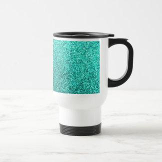 Turquoise faux glitter graphic travel mug