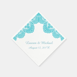 Turquoise Faux Lace on White Wedding Disposable Napkin