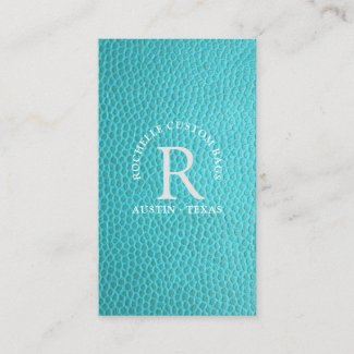 Turquoise faux leather encircled monogram business card
