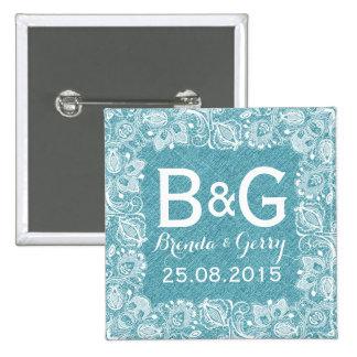 Turquoise Faux Linen & White Floral Lace Frame 15 Cm Square Badge