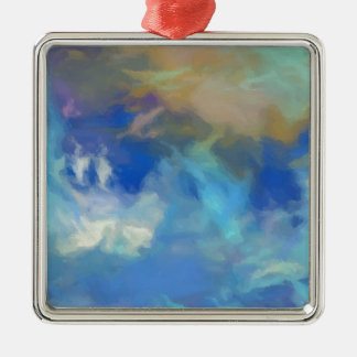 Turquoise Fire Sky.jpeg Silver-Colored Square Decoration