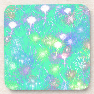 Turquoise Fireworks Beverage Coaster