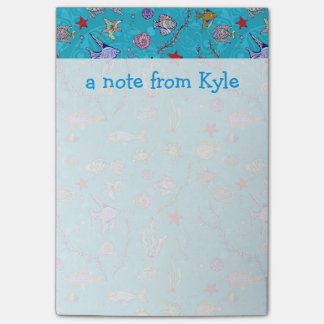 Turquoise Fish Pattern | Add Your Name Post-it Notes
