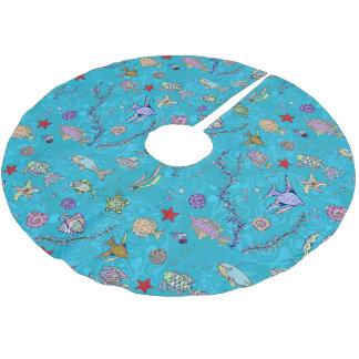 Turquoise Fish Pattern Brushed Polyester Tree Skirt