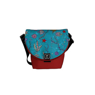 Turquoise Fish Pattern Courier Bag