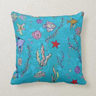 Turquoise Fish Pattern Cushion