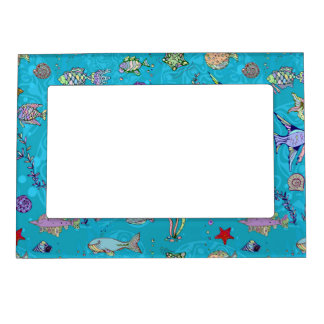 Turquoise Fish Pattern Frame Magnet