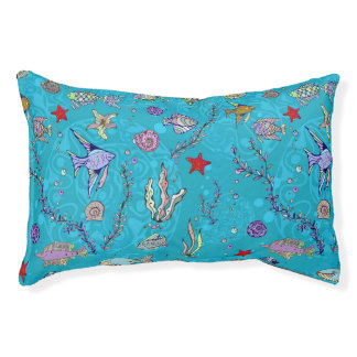 Turquoise Fish Pattern Pet Bed