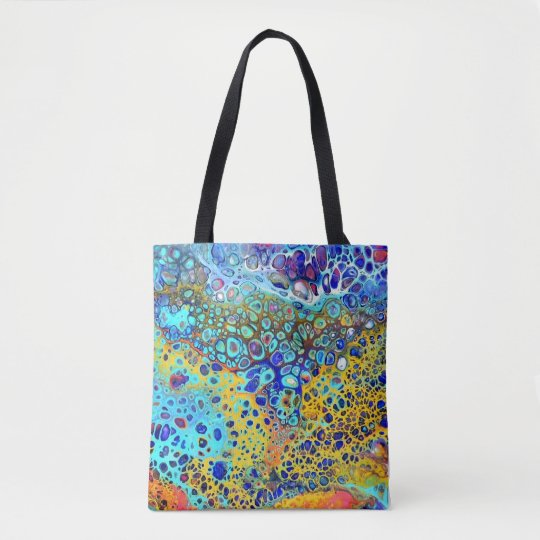 Turquoise Fizz Acrylic Pour All Over Tote