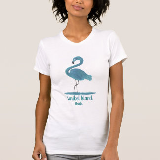 Turquoise Flamingo Painting -Sanibel Fine Art T-Shirt