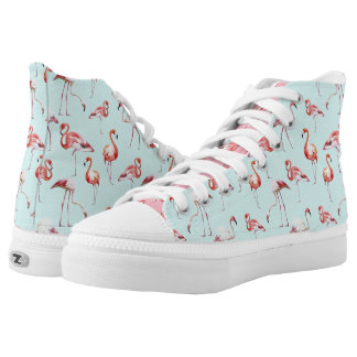 Turquoise flamingo tropical bird pattern high tops