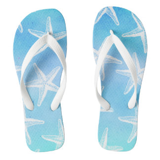 Turquoise Flip Flops - Watercolor Starfish