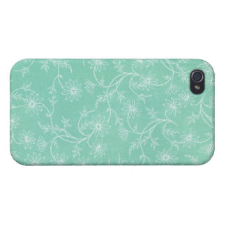 Turquoise Floral iPhone 4 case