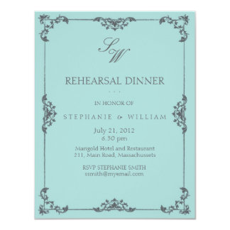 Turquoise Floral Monogram Rehearsal Dinner Card 11 Cm X 14 Cm Invitation Card