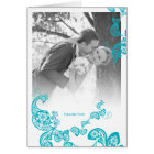Turquoise Floral Paisley Peacock Wedding Thank You Card