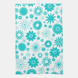 Turquoise Floral Pattern Tea Towel