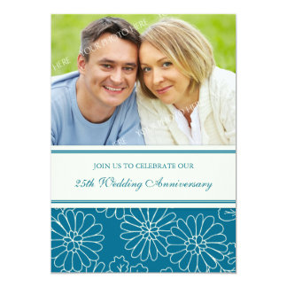 Turquoise Floral Photo 25th Anniversary Invitation