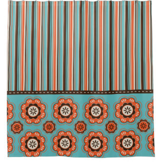 Turquoise Floral Shower Curtain