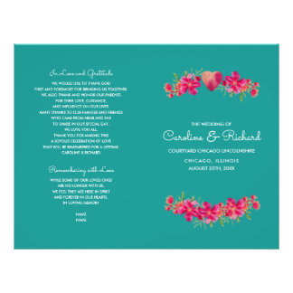 Turquoise Floral Watercolor Wedding Programs Flyer