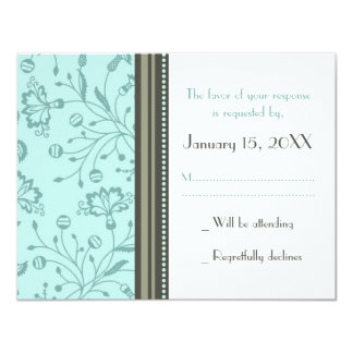 Turquoise Floral Wedding RSVP Card 11 Cm X 14 Cm Invitation Card