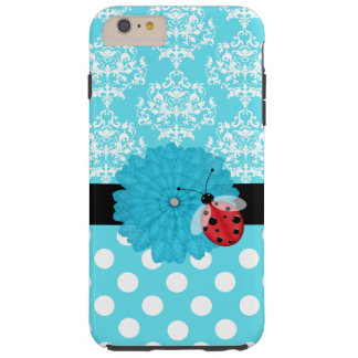 Turquoise Floral with Ladybug iPhone 6 Plus case