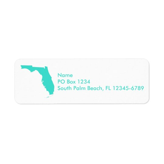 Turquoise Florida Personalised Return Address Label